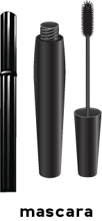 Illustration of two tubes of mascara. One has the tube opened illustrating the mascara brush