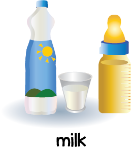 Illustration of a carton, glass and baby bottle filled with milk