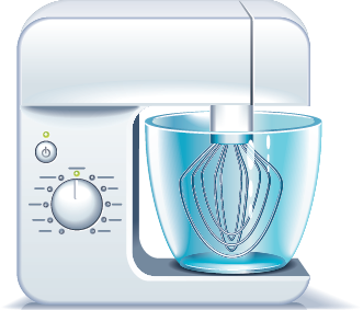 Illustration of a stand mixer