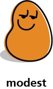 Cartoon blob shape that is expressing a modest expression