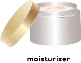 Illustration of an opened container of creamy moisturizer.