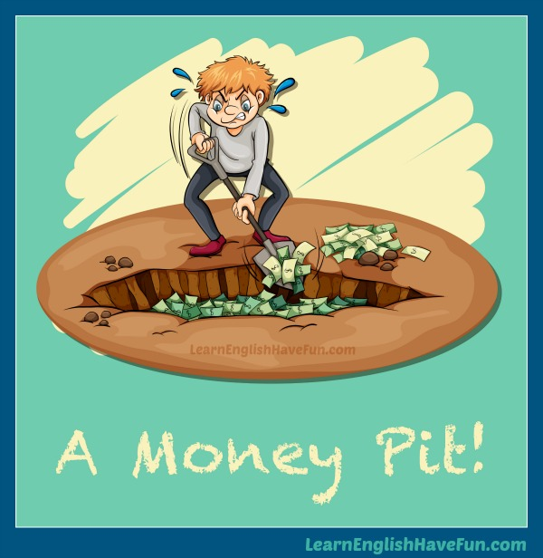 A cartoon man is furiously shoveling money into a hole or pit in the ground.