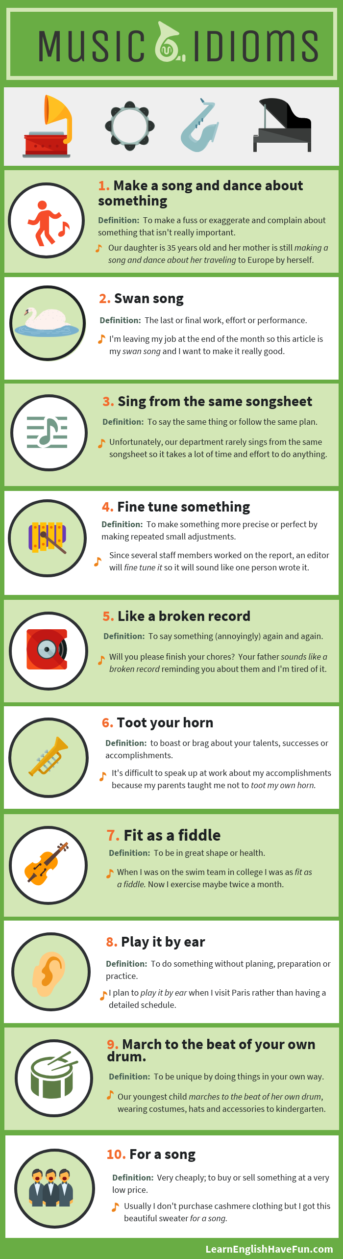 An infographic with 10 music idioms listed on this webpage with their meanings and sentence examples.