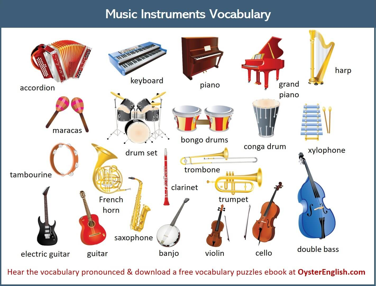 A collection of all of the musical instrument illustrations featured on this page.