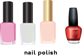 Illustration of 4 nail polish bottles