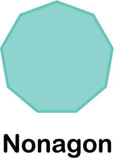 illustration of a nonagon shape (with 9 sides)