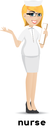 Illustration of a female nurse in a white uniform holding a clipboard