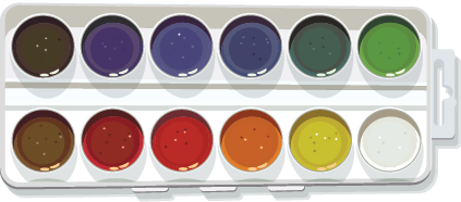 Illustration of a watercolor pan with different colored paints