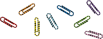 Illustration of striped paper clips