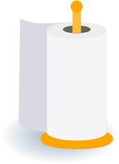 Illustration of a roll of paper towels on a holder