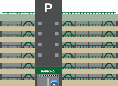 Illustration of a multi-story public parking garage