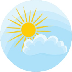 Round icon with a sun and cloud illustrating partly-cloudy weather