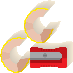 Illustration of a pencil sharpener with pencil shavings