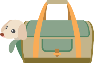 Illustration of a dog being carried in a duffel bag
