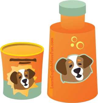 illustration of a bottle of dog shampoo and a container of flea powder