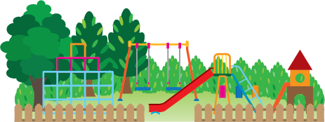 Illustration of a playground with slide, swings, jungle gym and other equipment.