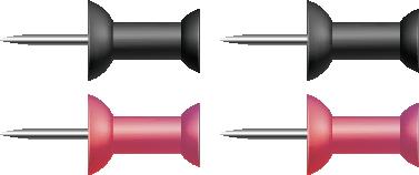 Illustration of four push pins