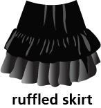 illustration of a ruffled skirt