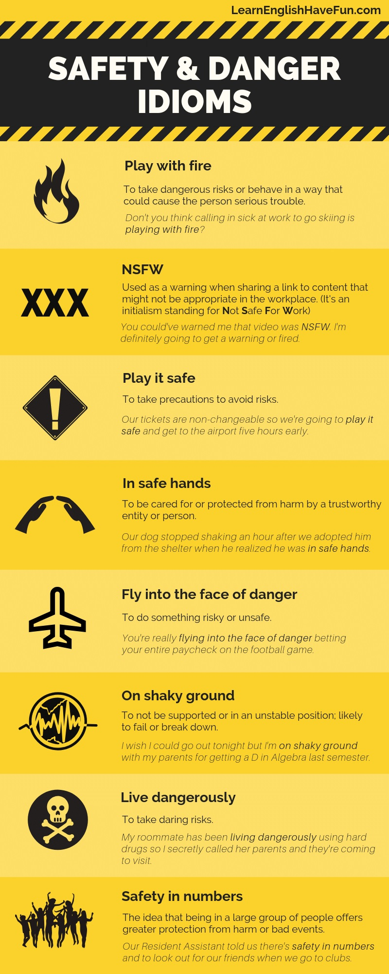 An infographic listing the 8 safety and danger idioms listed on this webpage with example sentences.