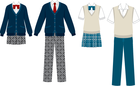 Illustration of 4 school uniforms (pants, shirts, sweaters and skirts) in different patterns