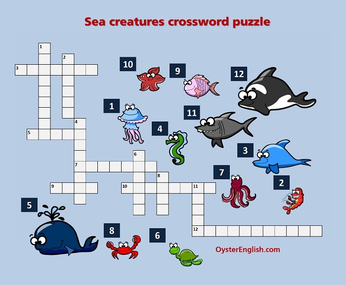 Illustration of the sea creatures crossword puzzle that can be downloaded on this page.