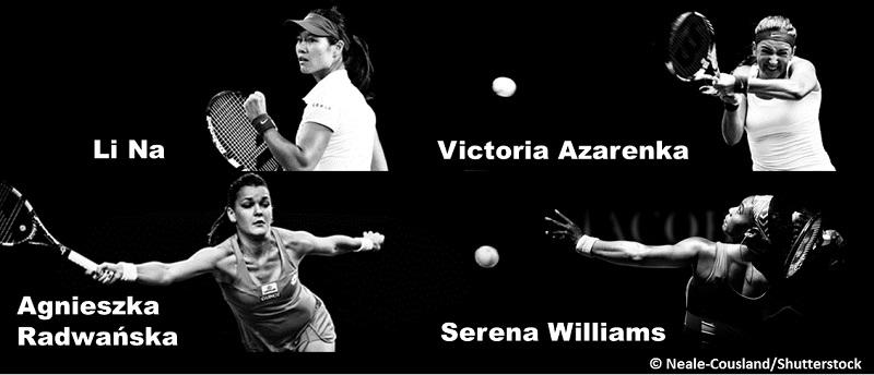 Collage of woman tennis players: Agnieszka Radwanska, Li Na, Victoria Azarenka and Serena Williams