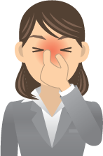 A cartoon woman holding her very red nose and grimacing in pain