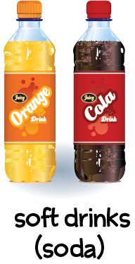 Illustration of a bottle of cola and a bottle of orange soda