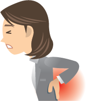 Cartoon woman holding hair back wincing in pain