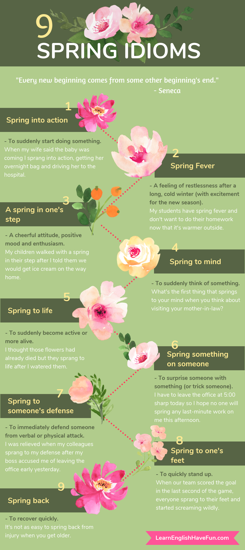 9 spring idioms with examples
