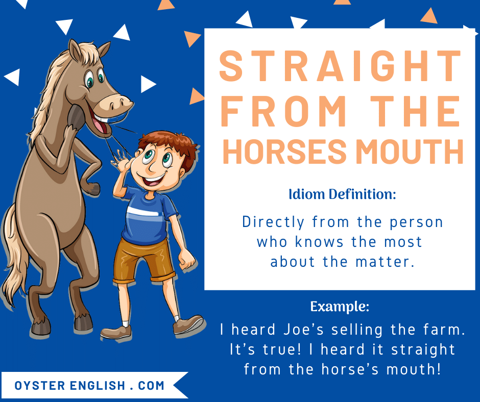 Cartoon of a horse whispering in a child's ear to depict the idiom