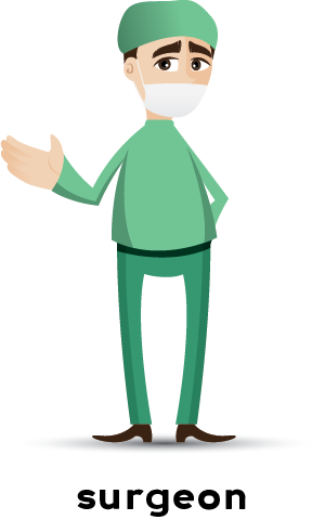 Illustration of a surgeon wearing green scrubs and a face mask.