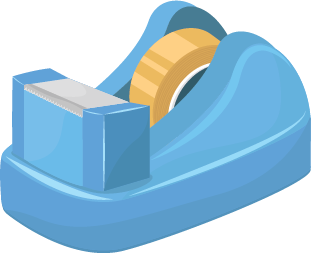 Illustration of a tape dispenser with clear tape