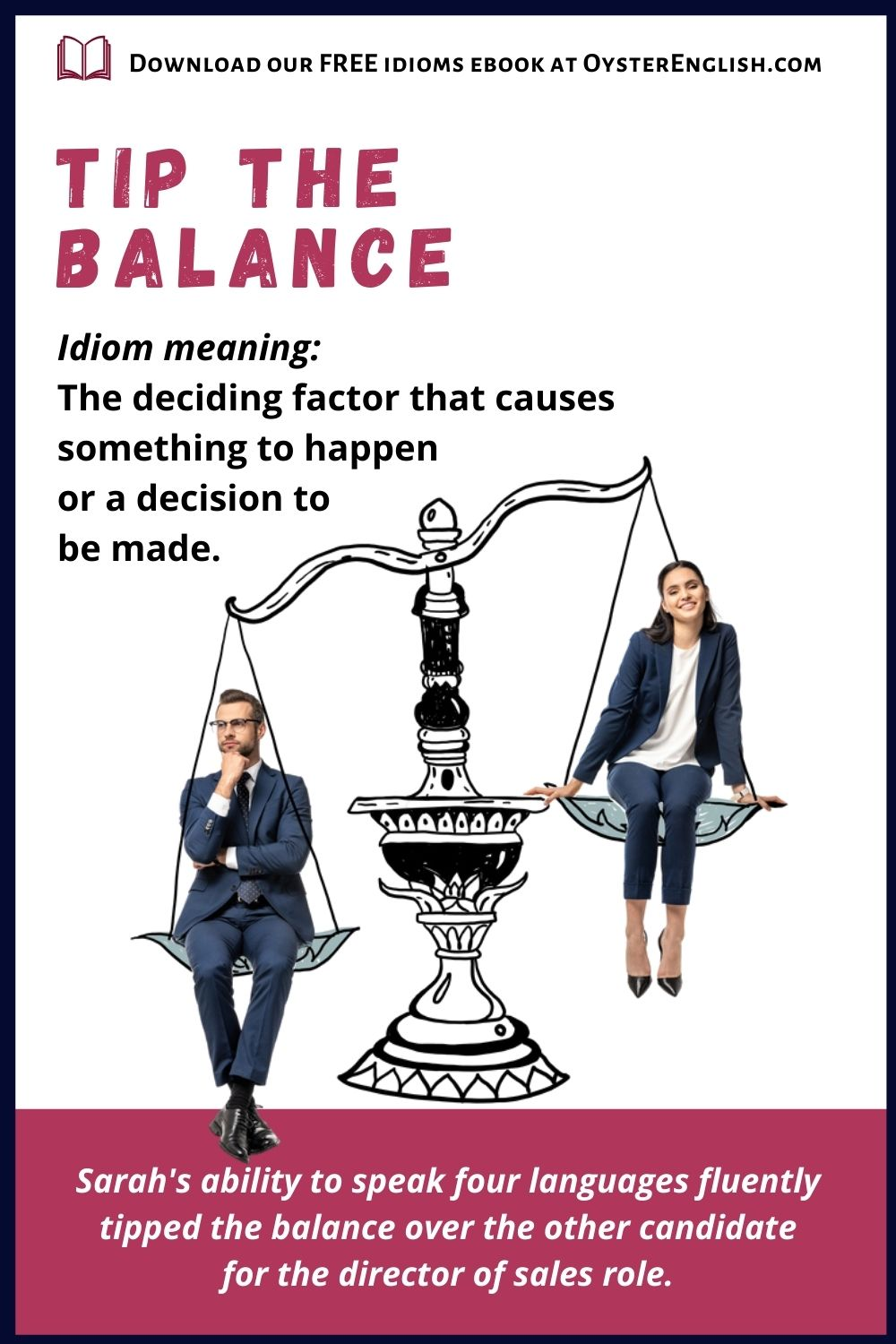 A businessman & businesswoman sit in the pans of a balance scale, with the woman at a higher level.