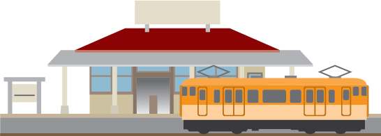 Illustration of a train station and train.