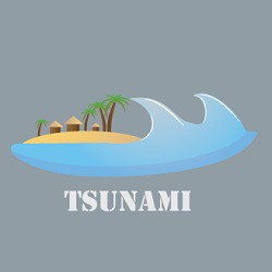 tsunami icon illustration with large wave about to cover beach and buildings