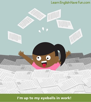 A cartoon woman whose eyeballs are looking in different directions underneath a pile of papers with the caption