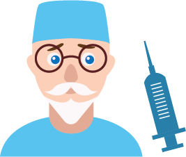 Illustration of a veterinarian and a syringe.