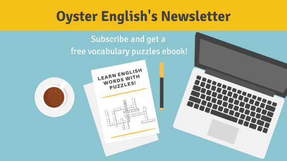 Announcement to get free English vocabulary puzzles ebook when you sign up for Oyster English's newsletter.
