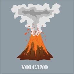 illustration of volcano erupting