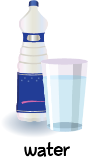 Illustration of a bottle of water and a glass of water