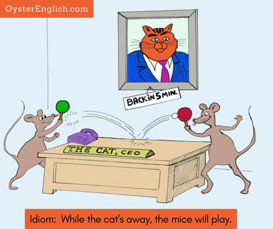 Image of mice playing ping pong on top of a cat's desk that has a placard with