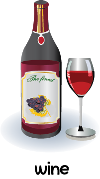 Illustration of a bottle and glass filled with red wine.