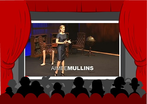 Aimee Mullins on the stage giving her TED Talk.