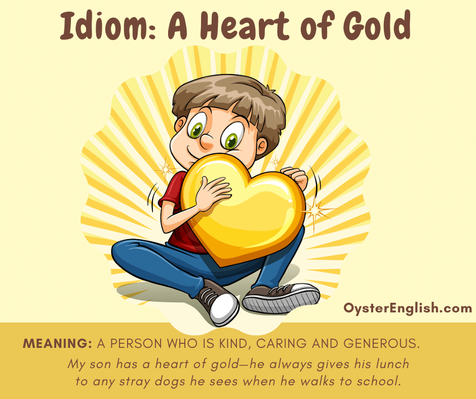 Cartoon boy holding a large gold heart in his arm depicting the idiom