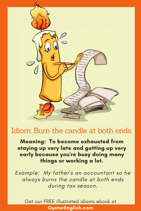 Cartoon candle with flames burning at both ends is writing furiously on a very long scroll of paper to depict the idiom