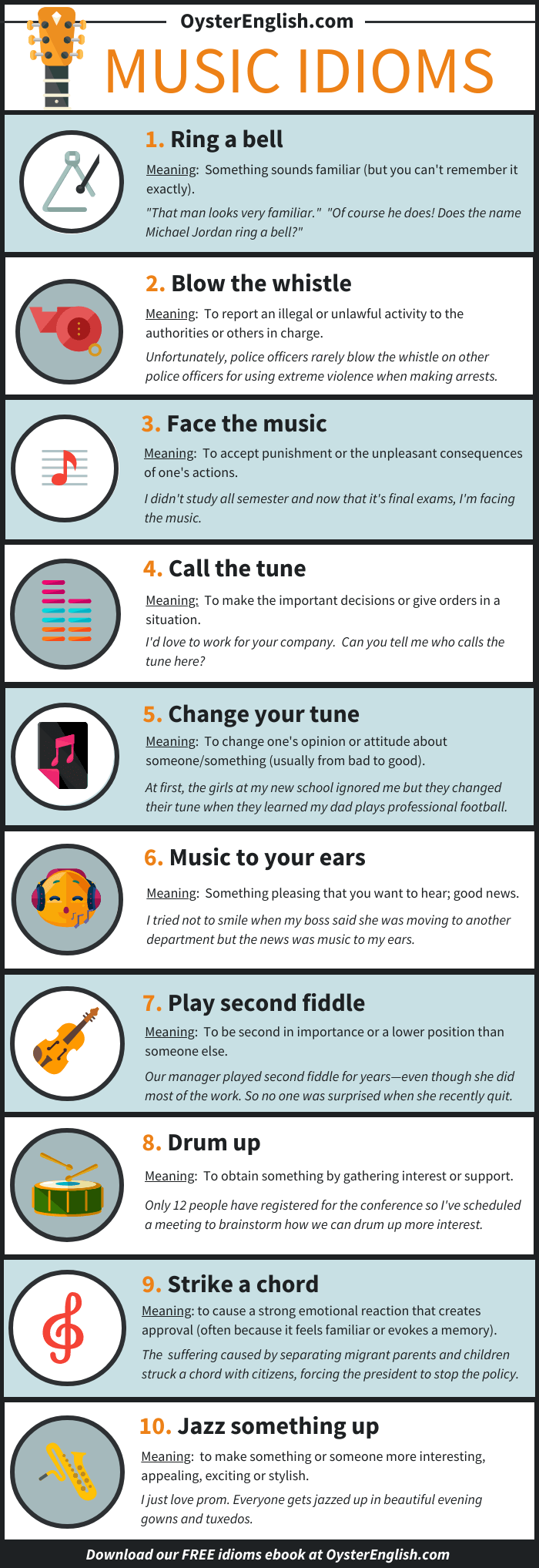 An infographic showing the 10 music idioms listed on this webpage with definitions and sentence examples