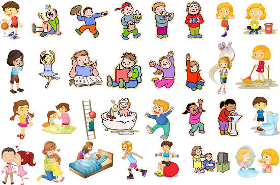 Image of children doing different actions or activities.