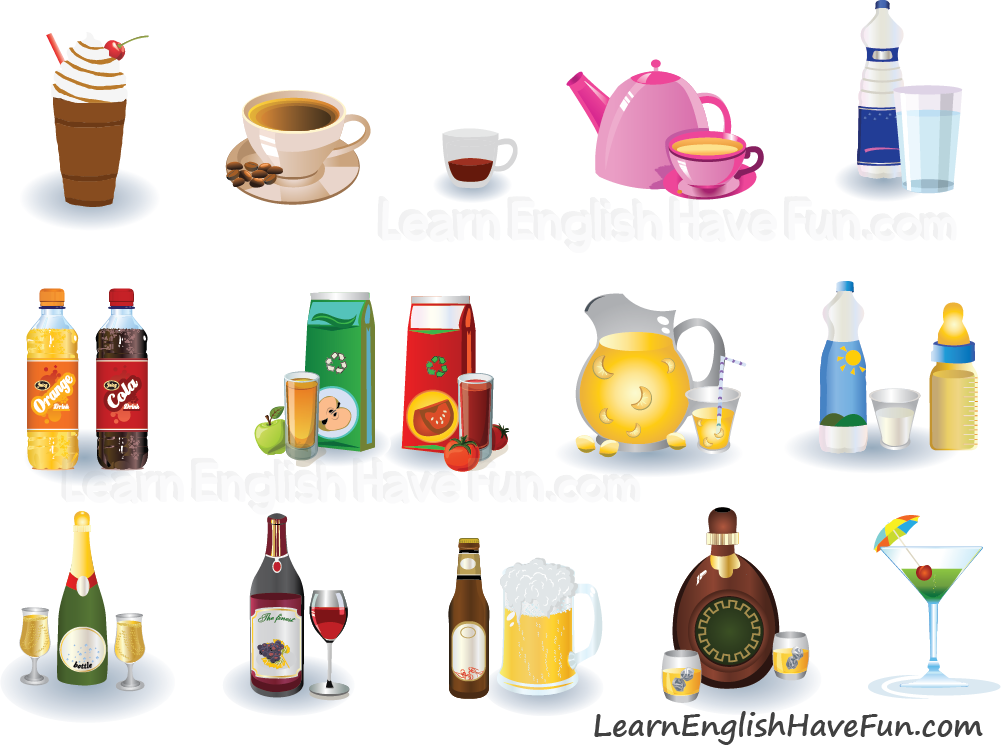 Image of different beverages in English vocabulary lesson.