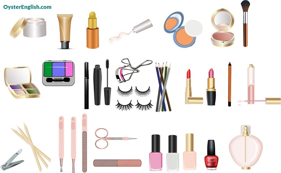 An illustration of a variety of cosmetic products that are listed on this page.